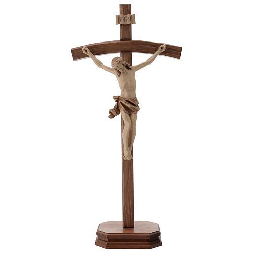 Crucifijo de mesa tallado madera Valgardena varias patinaduras 1