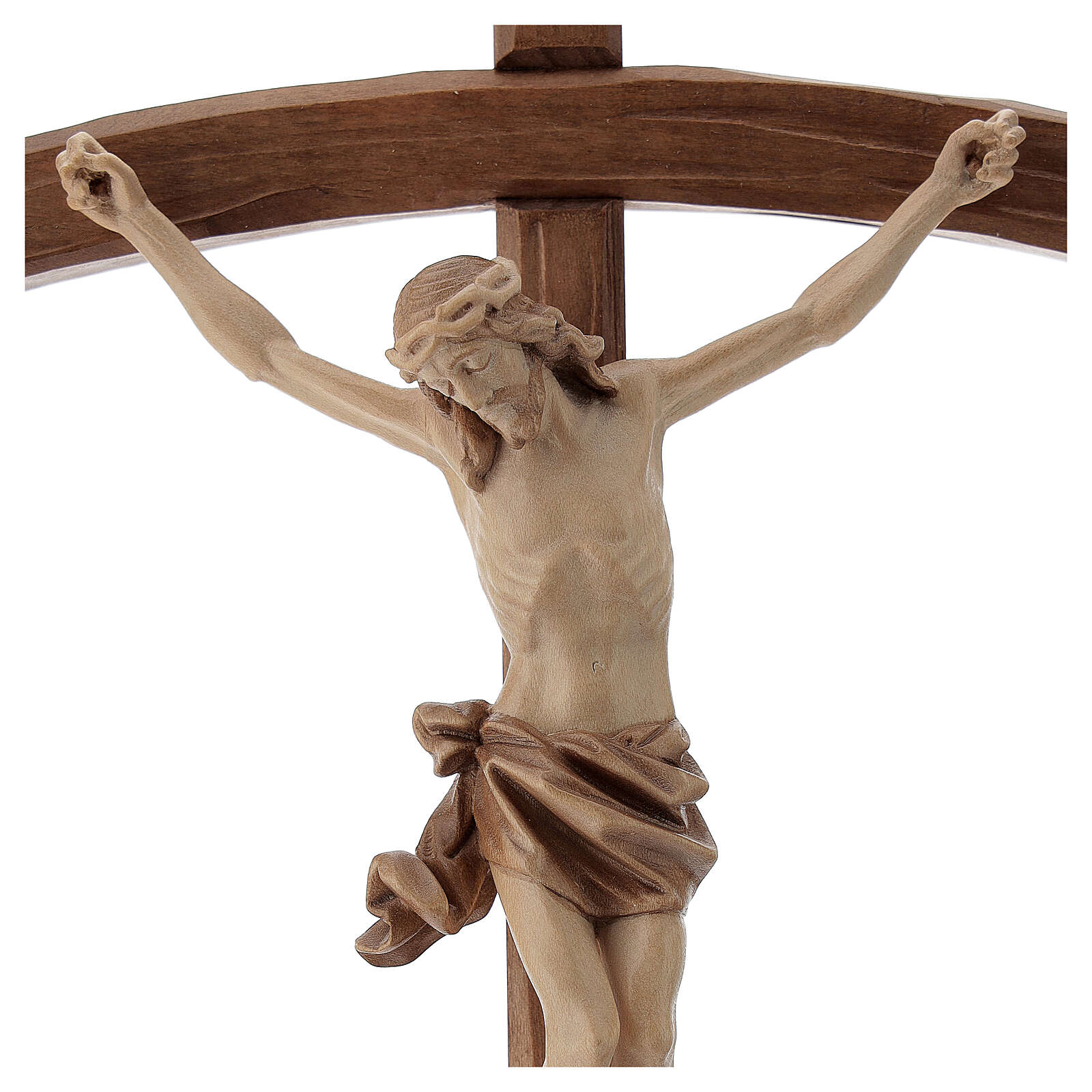 Sculpted crucifix with base in multi-patinated Valgardena wood 4
