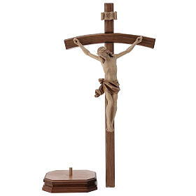 Sculpted crucifix with base in multi-patinated Valgardena wood s3