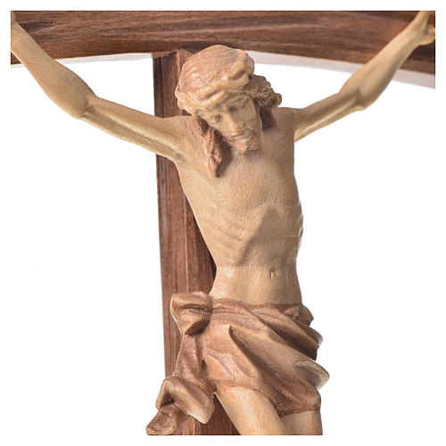 Sculpted crucifix with base in multi-patinated Valgardena wood 2