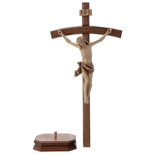 Sculpted crucifix with base in multi-patinated Valgardena wood 3