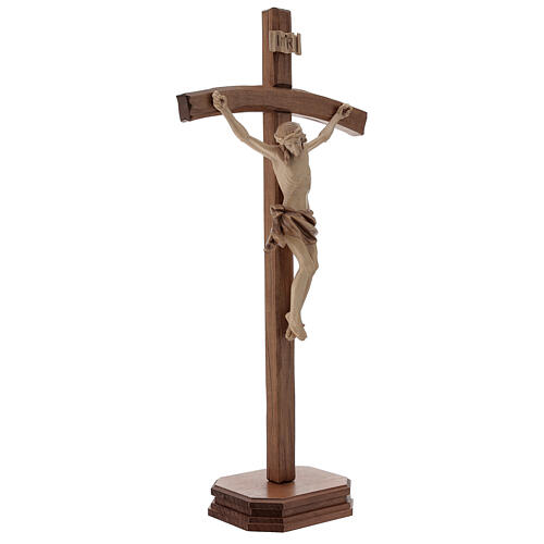 Sculpted crucifix with base in multi-patinated Valgardena wood 5