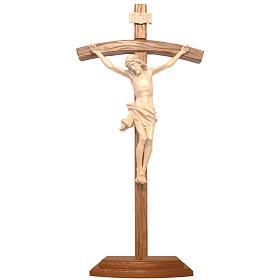 Crocifisso da tavolo scolpito legno Valgardena naturale cerato s1