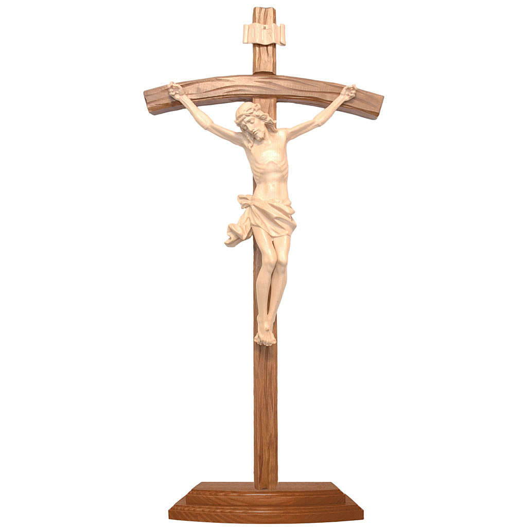 Sculpted crucifix with base in natural wax Valgardena wood 4