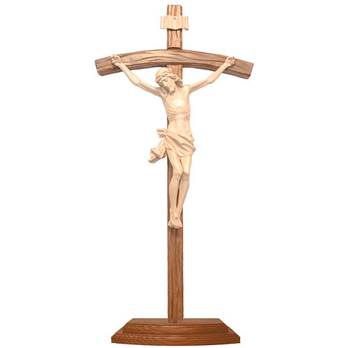 Sculpted crucifix with base in natural wax Valgardena wood 1