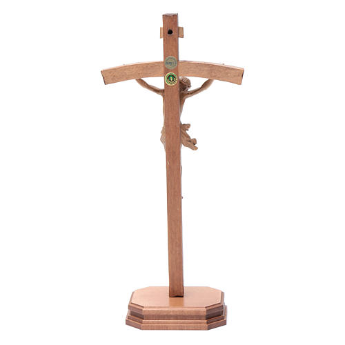 Sculpted crucifix with base in patinated Valgardena wood 4