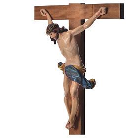 Crucifixo mesa cruz recta Corpus madeira Val Gardena Antigo Gold s9