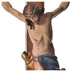 Crucifixo mesa cruz recta Corpus madeira Val Gardena Antigo Gold s10