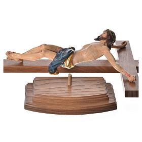 Crucifixo mesa cruz recta Corpus madeira Val Gardena Antigo Gold s12