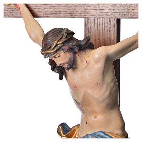 Crucifixo mesa cruz recta Corpus madeira Val Gardena Antigo Gold s17