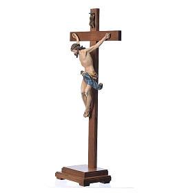 Crucifixo mesa cruz recta Corpus madeira Val Gardena Antigo Gold s2
