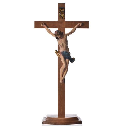 Crucifixo mesa cruz recta Corpus madeira Val Gardena Antigo Gold 8