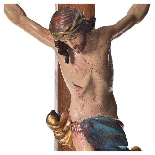 Crucifixo mesa cruz recta Corpus madeira Val Gardena Antigo Gold 10