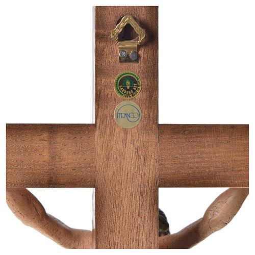 Crucifixo mesa cruz recta Corpus madeira Val Gardena Antigo Gold 11