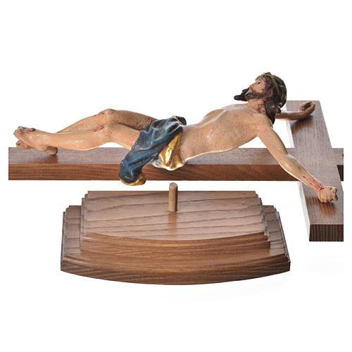 Crucifixo mesa cruz recta Corpus madeira Val Gardena Antigo Gold 12