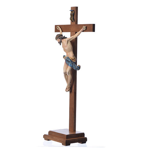 Crucifixo mesa cruz recta Corpus madeira Val Gardena Antigo Gold 14