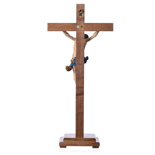 Crucifixo mesa cruz recta Corpus madeira Val Gardena Antigo Gold 16