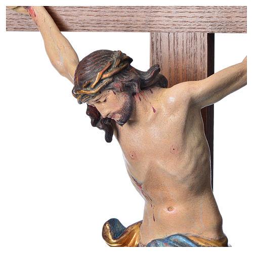 Crucifixo mesa cruz recta Corpus madeira Val Gardena Antigo Gold 5