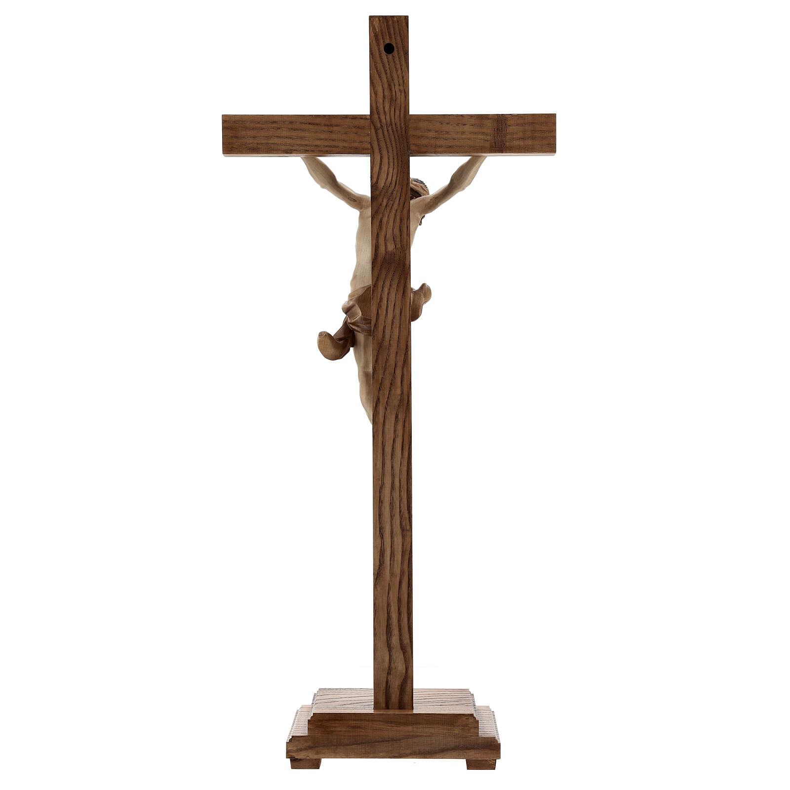 Crucifijo de mesa cruz recta Corpus Valgardena varias patinadura 4