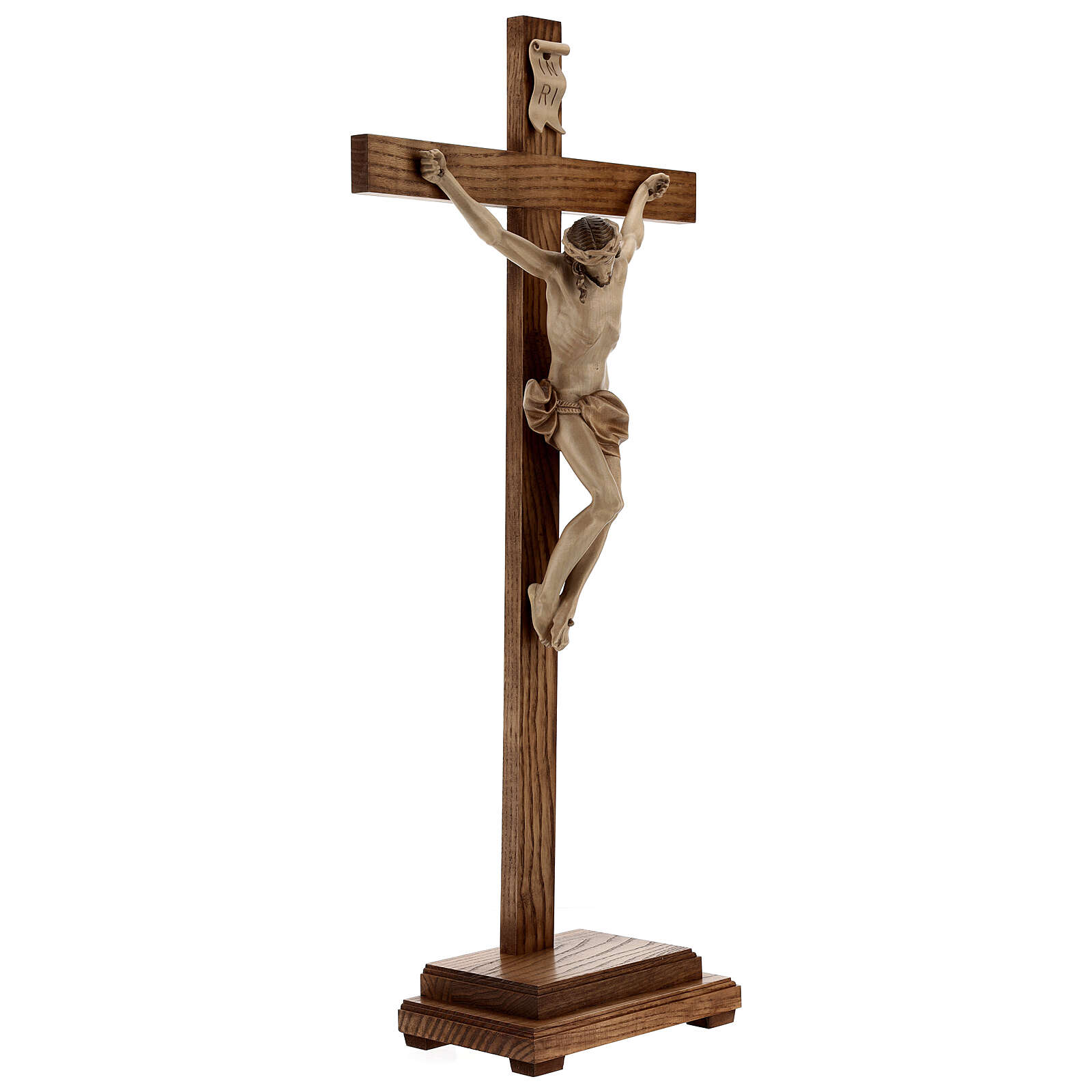 Crucifixo mesa cruz recta Corpus Val Gardena pátina múltipla 4