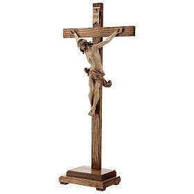 Crucifixo mesa cruz recta Corpus Val Gardena pátina múltipla s4