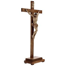Crucifixo mesa cruz recta Corpus Val Gardena pátina múltipla s7
