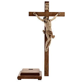 Crucifixo mesa cruz recta Corpus Val Gardena pátina múltipla s10