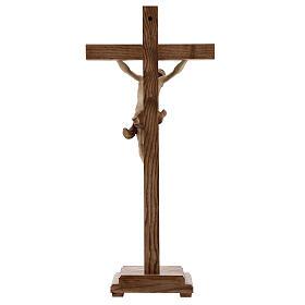 Crucifixo mesa cruz recta Corpus Val Gardena pátina múltipla s11