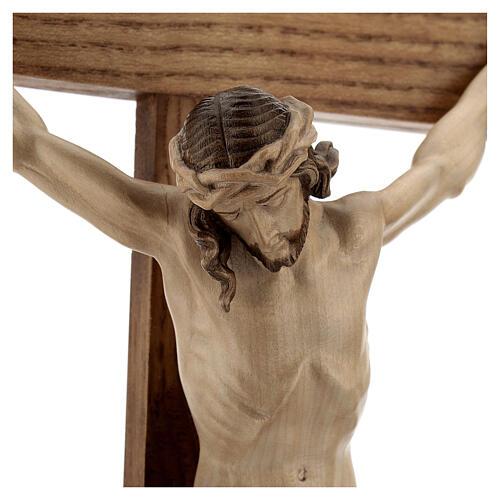 Crucifixo mesa cruz recta Corpus Val Gardena pátina múltipla 3