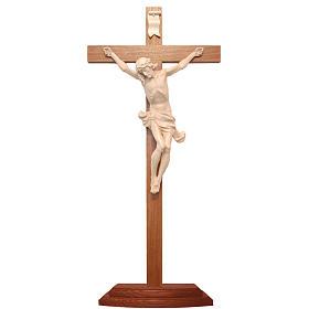 Crucifijo de mesa cruz recta Corpus Valgardena natural encerado s1