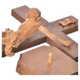Corpus straight table cross, patinated Valgardena wood s14