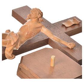 Corpus straight table cross, patinated Valgardena wood s4