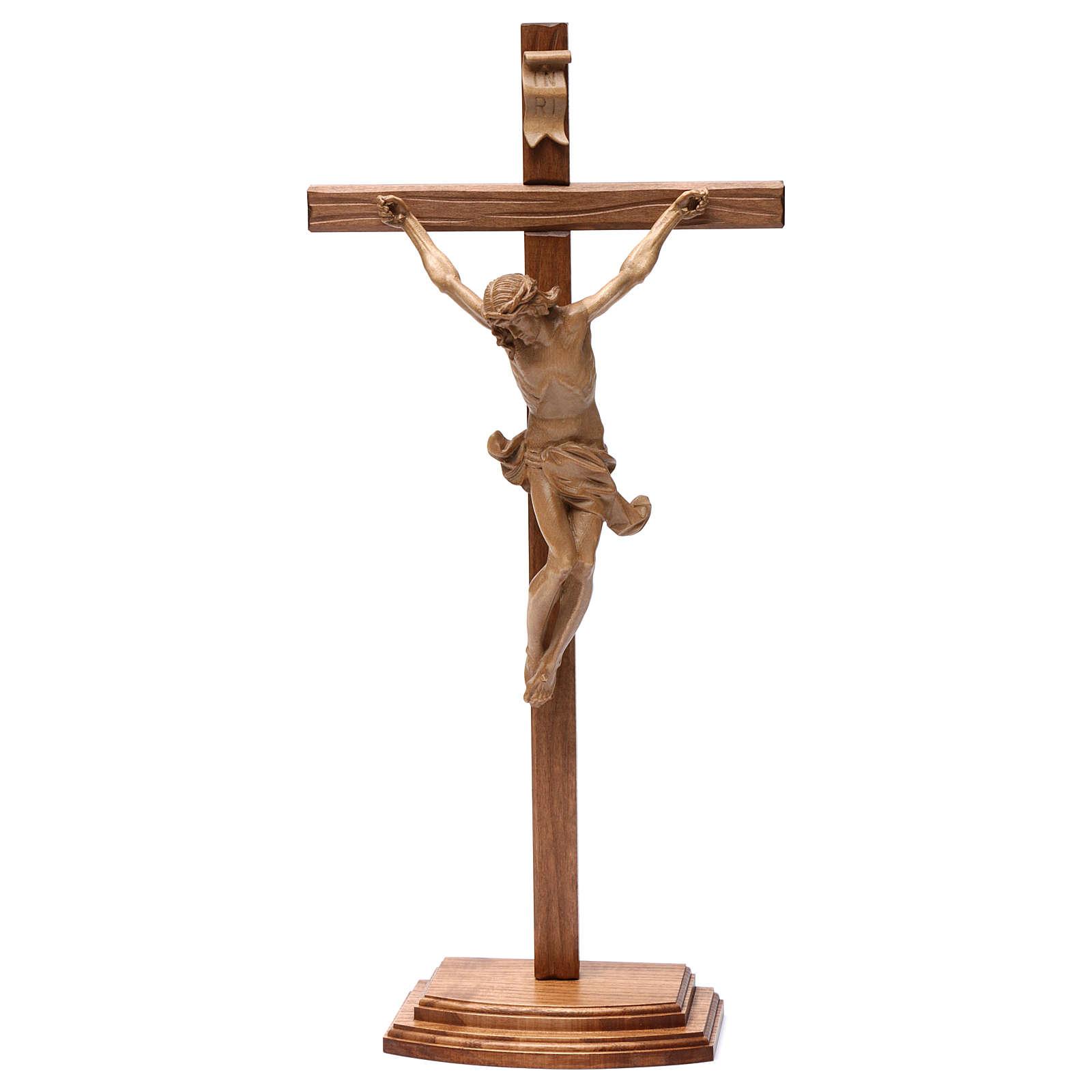 Crocifisso tavolo croce dritta scolpita Valgardena patinato 4