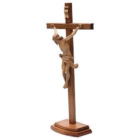 Crocifisso tavolo croce dritta scolpita Valgardena patinato s4