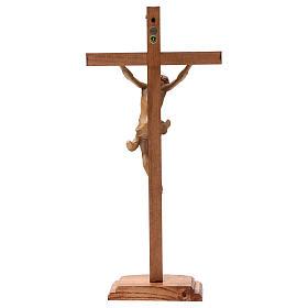 Crocifisso tavolo croce dritta scolpita Valgardena patinato s6