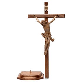 Crocifisso tavolo croce dritta scolpita Valgardena patinato s7