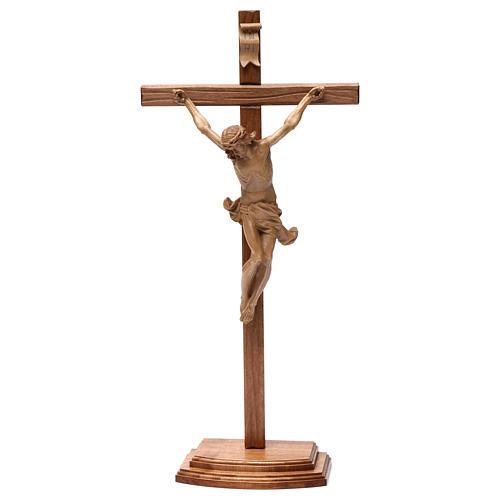 Crocifisso tavolo croce dritta scolpita Valgardena patinato 2