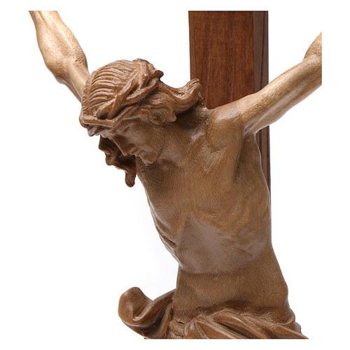 Crocifisso tavolo croce dritta scolpita Valgardena patinato 3