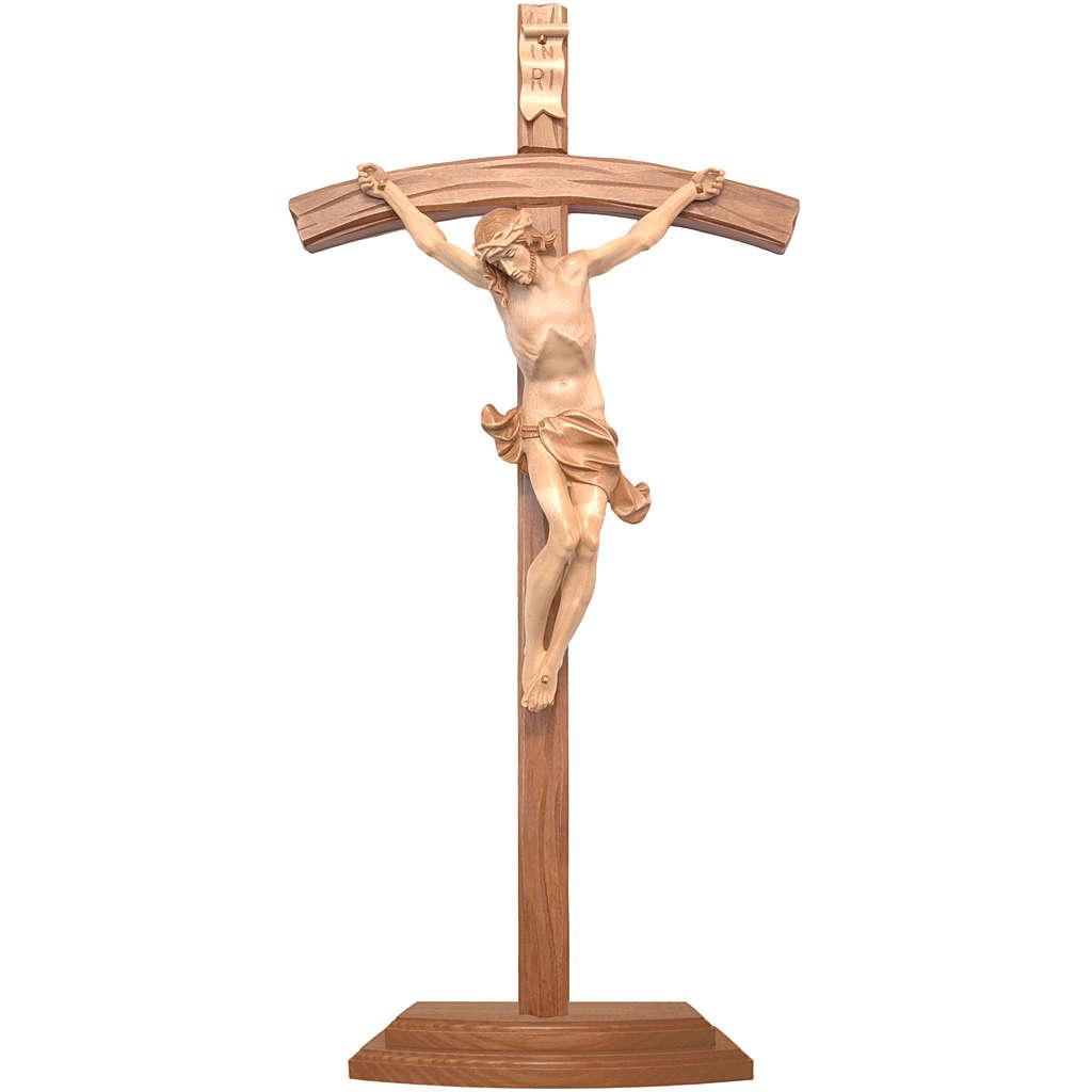 Curved crucifix with base, multi-patinated Valgardena wood 4