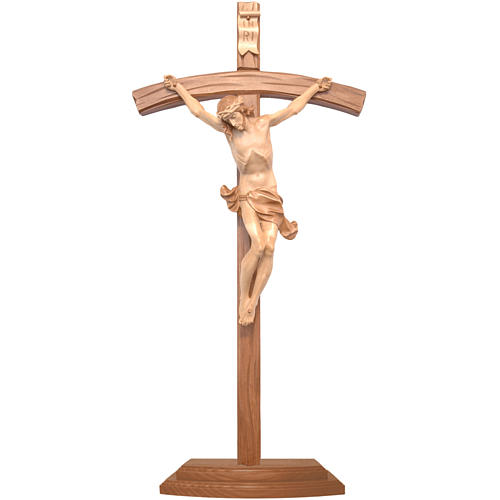 Curved crucifix with base, multi-patinated Valgardena wood 1