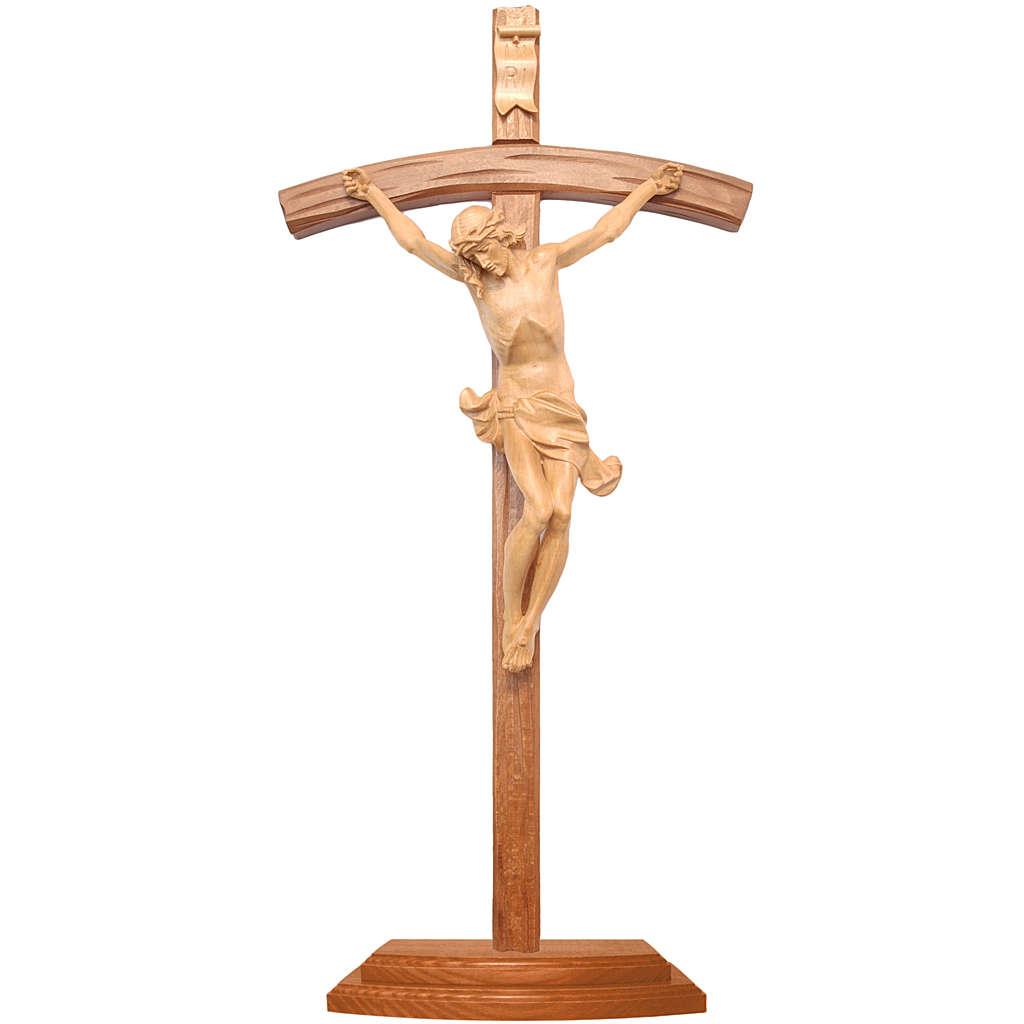 Crucifijo de mesa cruz curva tallada Valgardena patinado 4