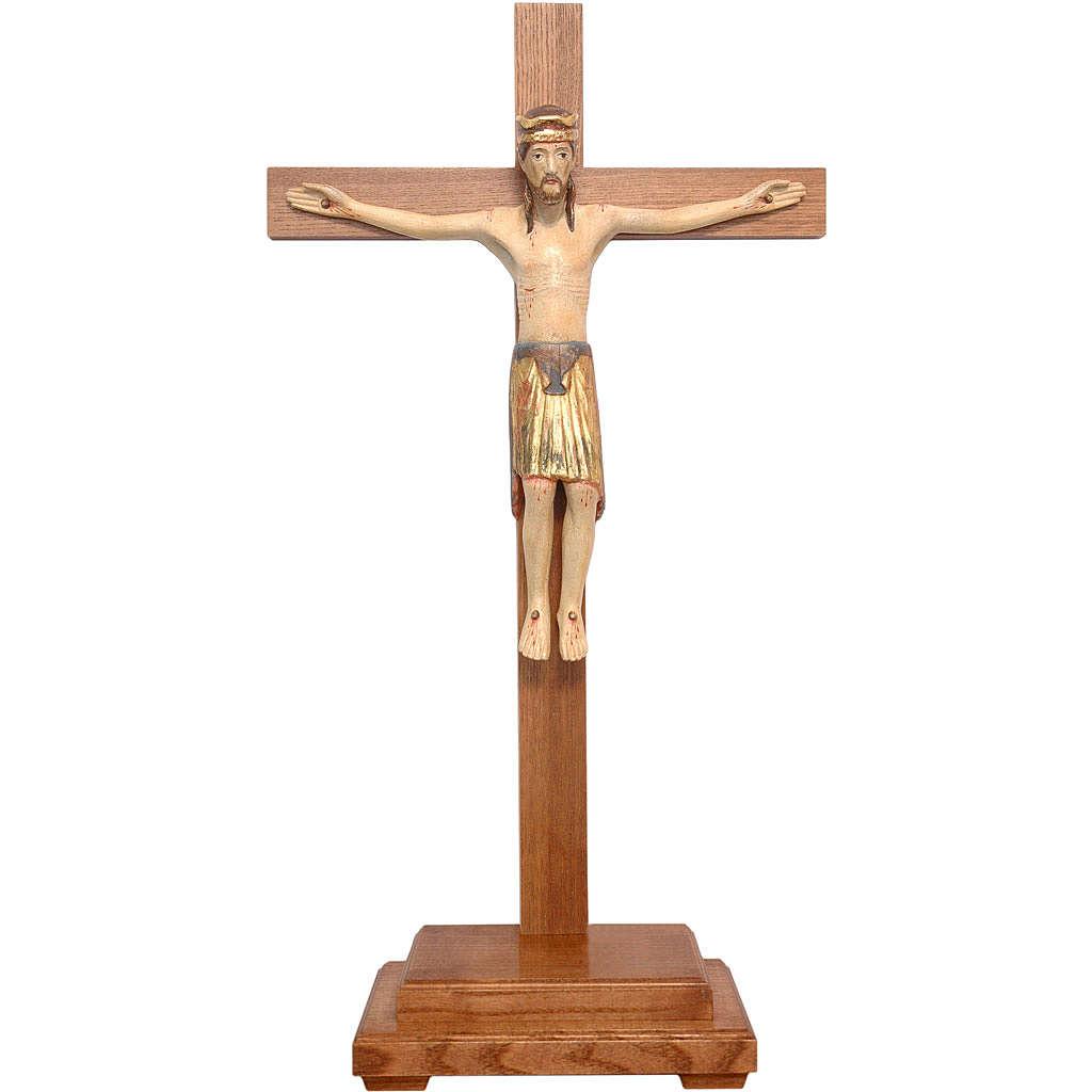 Crocifisso da tavolo di Altenstadt 52cm Valgardena Ant. Gold 4