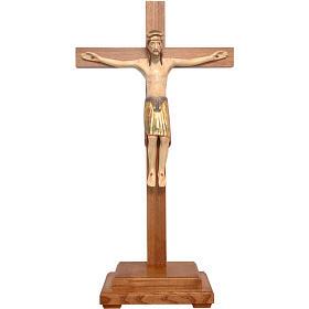 Crocifisso da tavolo di Altenstadt 52cm Valgardena Ant. Gold s1