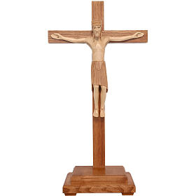 Crucifix à poser de Altenstadt 52cm bois patiné multinuances s1