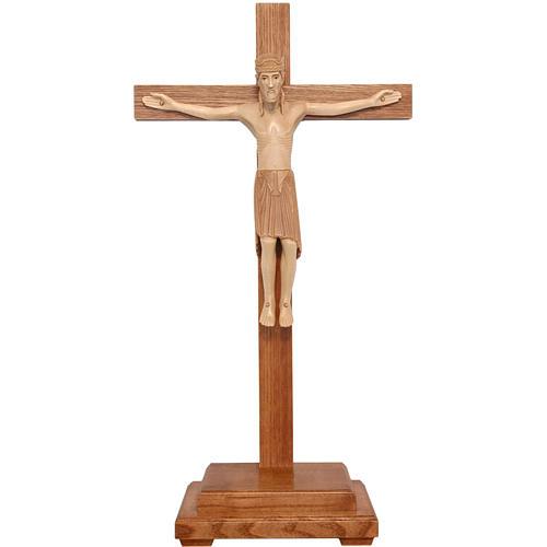 Crucifix à poser de Altenstadt 52cm bois patiné multinuances 1