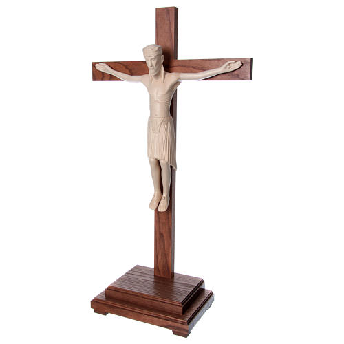 Altenstadt crucifix with base, 52cm in Valgardena wood natural w 3