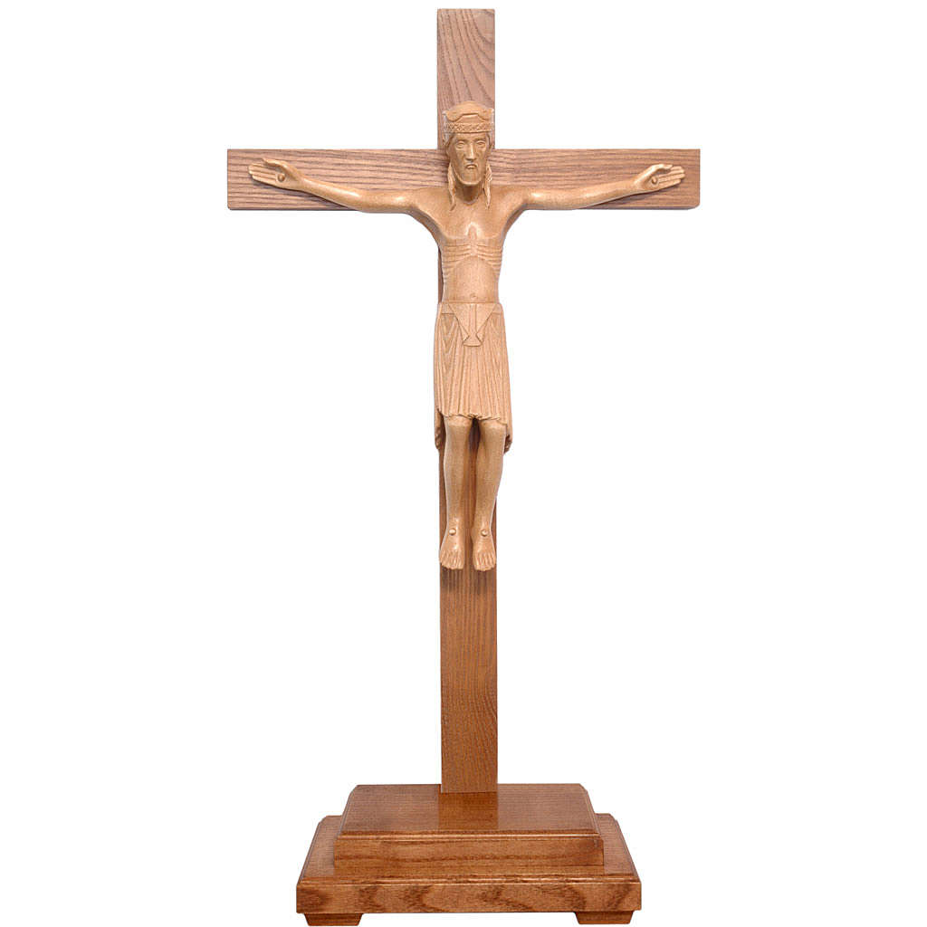 Altenstadt crucifix with base, 52cm in patinated Valgardena wood 4