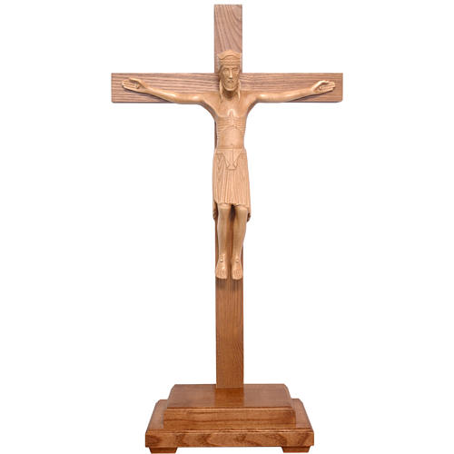Altenstadt crucifix with base, 52cm in patinated Valgardena wood 1