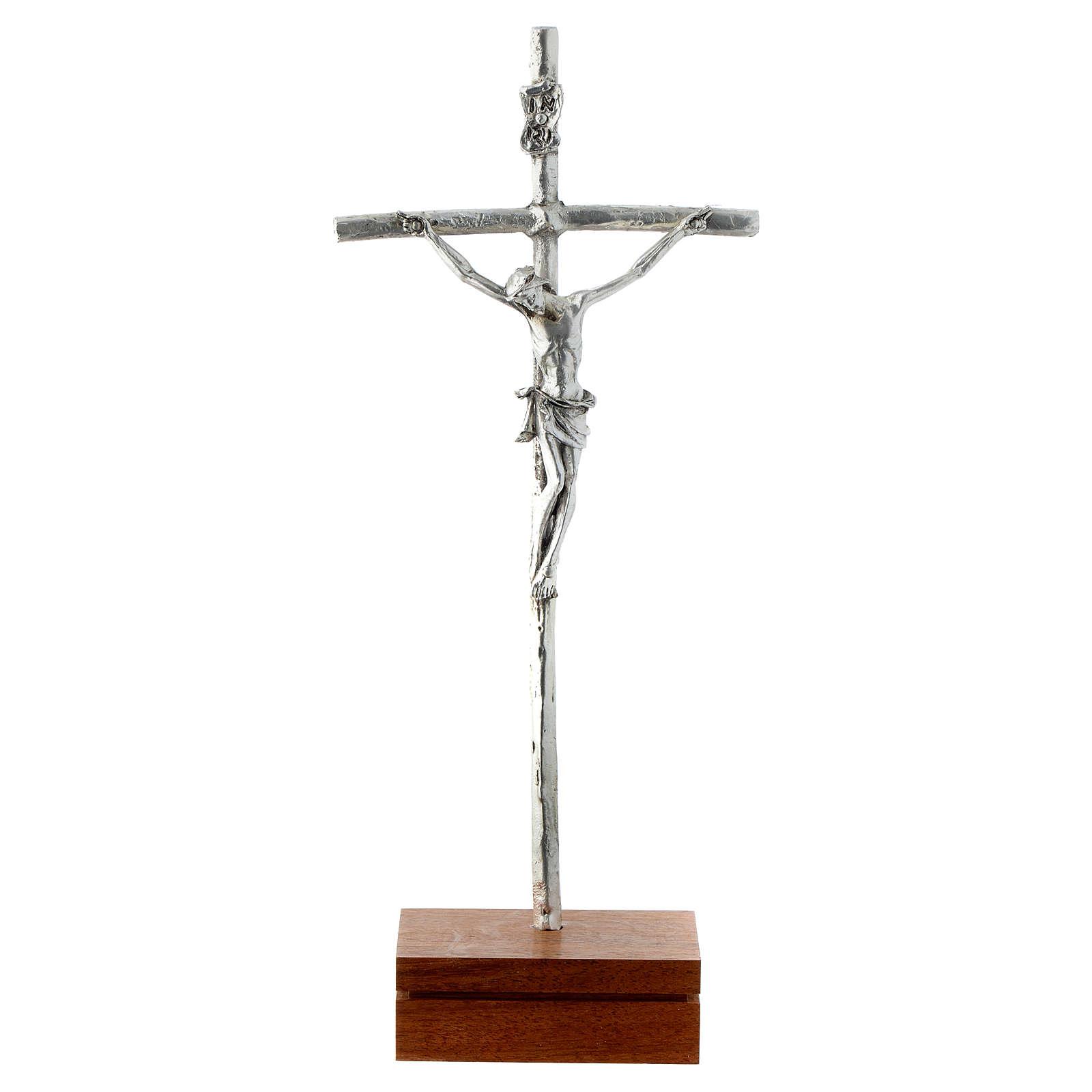 Crocifisso da tavolo metallo base legno 23,5 cm 4