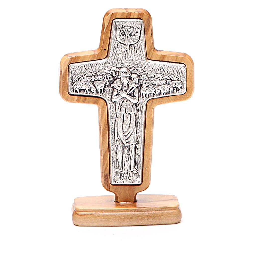 Croce da tavolo metallo Papa Francesco legno ulivo 13x8,5 cm 4